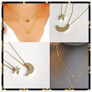 Quality Gorgeous Moon And Star Two Strand Necklace